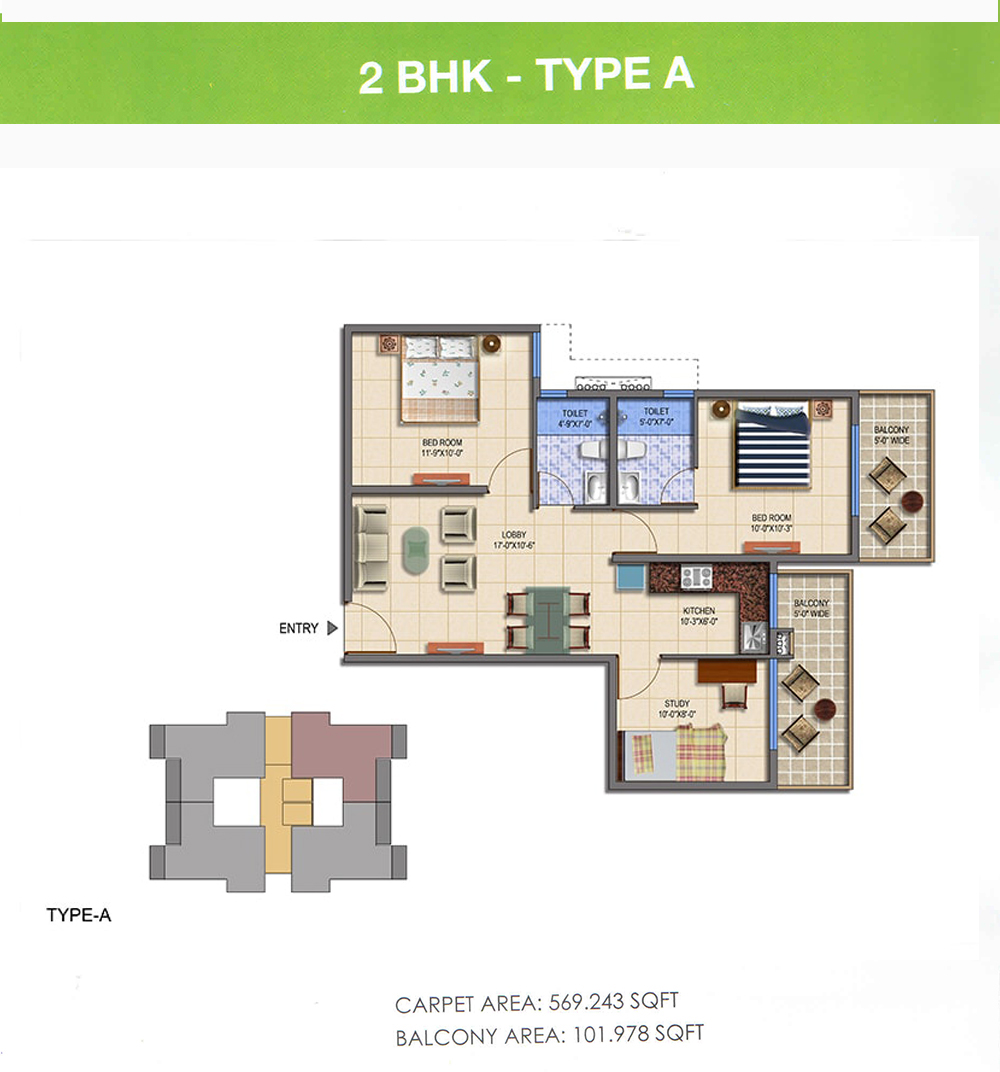 Signature Global The Roselia 2bhk Type A Floor Plan