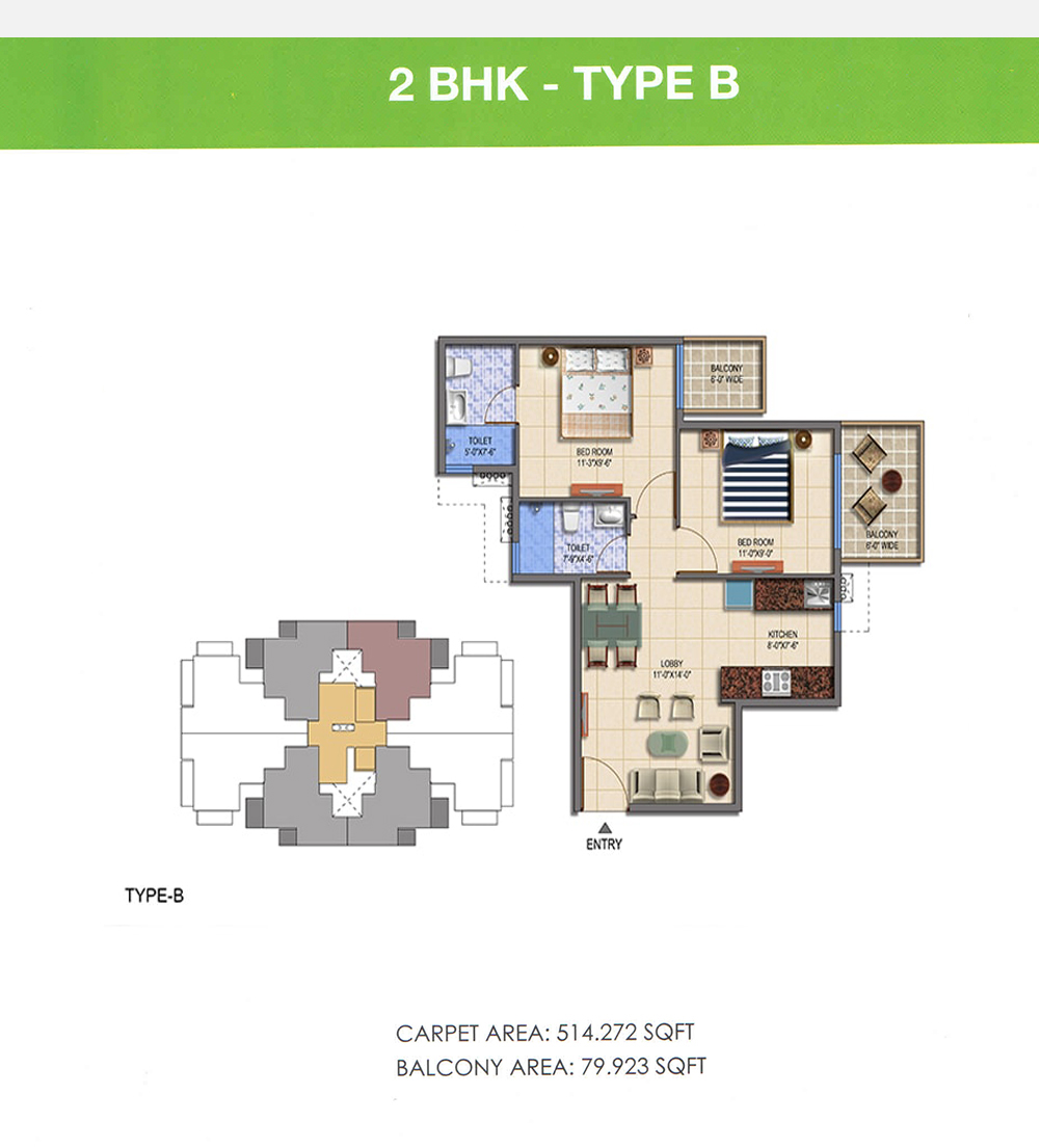 Signature Global The Roselia 2bhk Type B Floor Plan