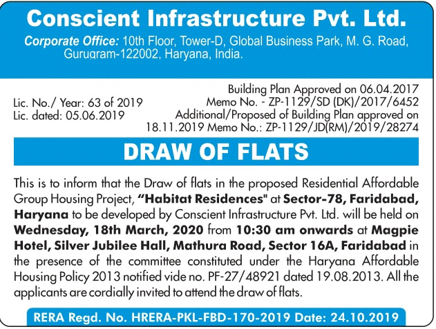 Conscient Habitat Residences Sector 78 Faridabad Draw Date 18th March 2020