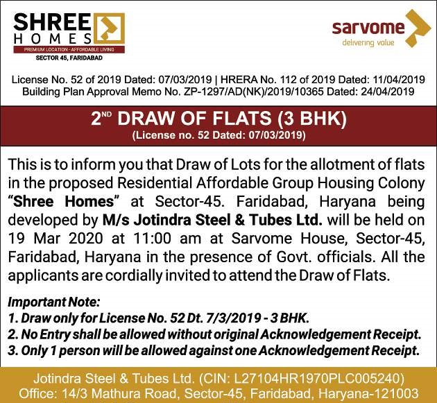 Sarvome Shree Homes Sector 45 Faridabad Draw Date 19th March 2020