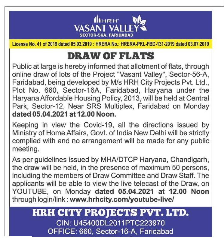 HRH Vasant Valley Sector 56A Faridabad Draw Date 5th April 2021