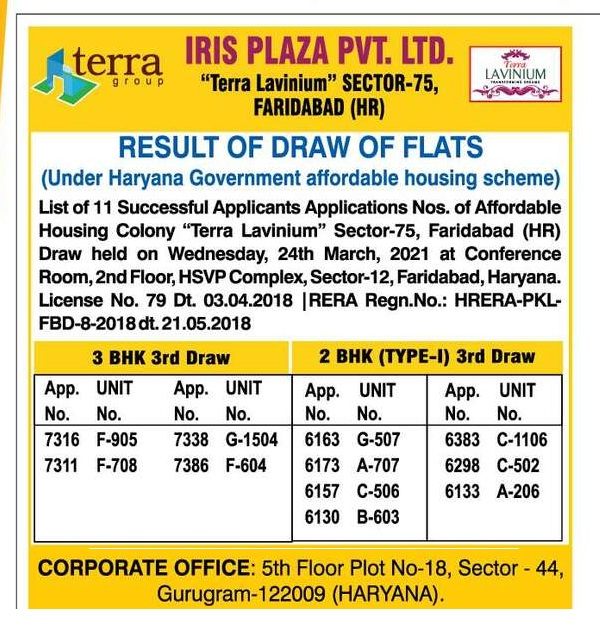 Tera Lavinium Sector 75 Gurgaon Draw Results 24th March 2021